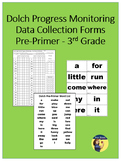 Sight Word Progress Monitoring Forms - Pre-Primer through 3rd Grade