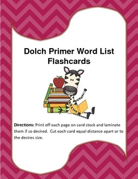 Dolch Primer Word List Flash Cards