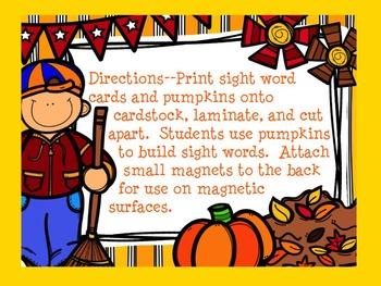 Dolch Pumpkin Build a Sight Word--Pre-Primer