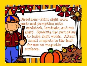 Dolch Pumpkin Build a Sight Word--Third Grade