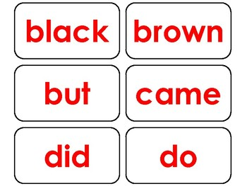 Dolch Red Bold Text Primer Sight Word Flash Cards in a PDF file  PreK-KDG  flash