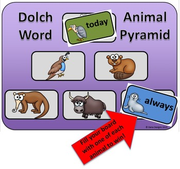 Sight Word Review Game - Animal Pyramid