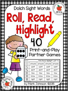 Dolch Roll, Read, and Highlight: 40 Print-and-Play Partner Games