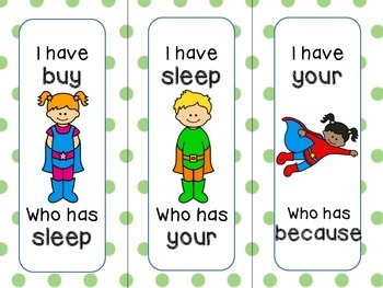 "Dolch SECOND GRADE ""I have...Who has?"" SUPERHERO Theme"