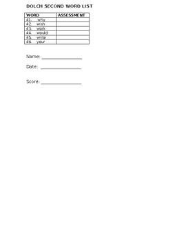 Dolch Second Checklist