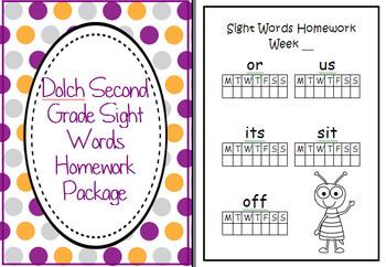 Dolch Second Grade 2 Sight Words Homework Package Folder