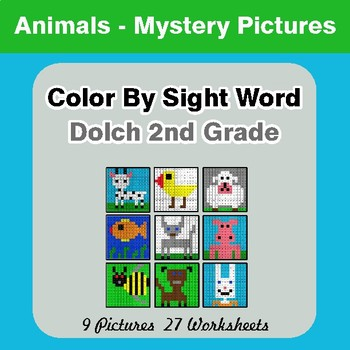 Dolch Second Grade: Color by Sight Word - Animals Mystery Pictures