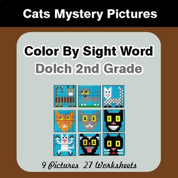 Dolch Second Grade: Color by Sight Word - Cats Mystery Pictures