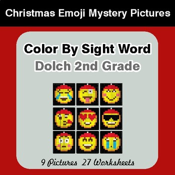 Dolch Second Grade: Color by Sight Word - Christmas Emoji Mystery Pictures