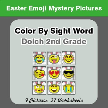 Dolch Second Grade: Color by Sight Word - Easter Emoji Mystery Pictures