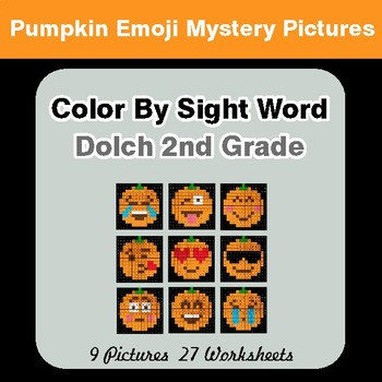 Dolch Second Grade: Color by Sight Word - Halloween Emoji Mystery Pictures