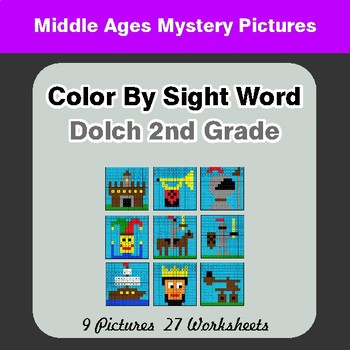 Dolch Second Grade: Color by Sight Word - Middle Ages Mystery Pictures
