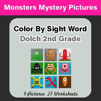 Dolch Second Grade: Color by Sight Word - Monsters Mystery Pictures