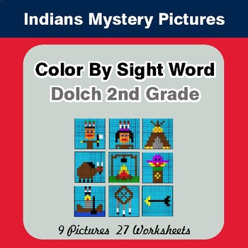 Dolch Second Grade: Color by Sight Word - Native American Indians theme