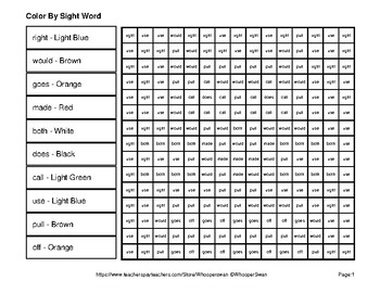 Dolch Second Grade: Color by Sight Word - Pets Mystery Pictures