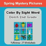 Dolch Second Grade: Color by Sight Word - Spring Mystery Pictures