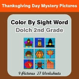 Dolch Second Grade: Color by Sight Word - Thanksgiving Mystery Pictures