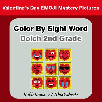 Dolch Second Grade: Color by Sight Word - Valentine's Day Emoji Mystery Pictures