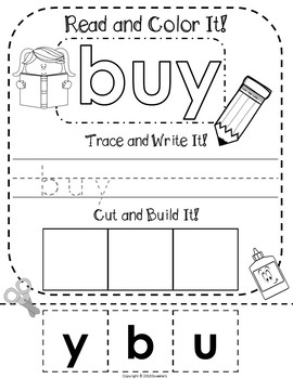 Dolch Second Grade Read Trace Write and Build a Word Worksheets