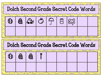 Dolch Second Grade Secret Code Words