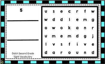 Dolch Second Grade Sight Vocabulary Word Search Sliders