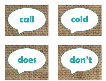 Dolch Second Grade Sight Word Flash Cards (Burlap and Turquoise)