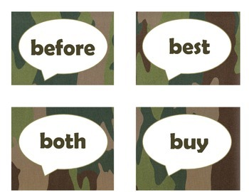 Dolch Second Grade Sight Word Flash Cards (Camo)