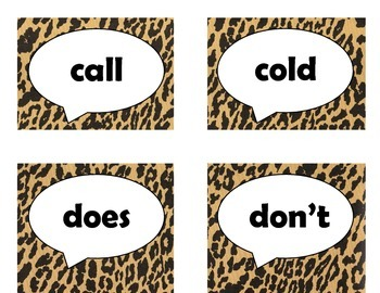 Dolch Second Grade Sight Word Flash Cards (Cheetah/Leopard with Black Lettering)