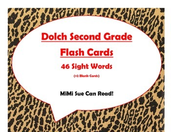 Dolch Second Grade Sight Word Flash Cards (Cheetah/Leopard with Red Lettering)