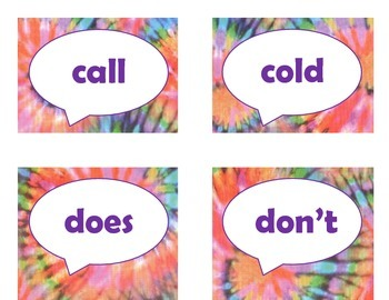 Dolch Second Grade Sight Word Flash Cards (Tie Dye with Purple Lettering)