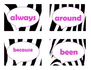 Dolch Second Grade Sight Word Flash Cards (Zebra with Hot Pink Lettering)