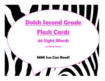 Dolch Second Grade Sight Word Flash Cards (Zebra with Hot