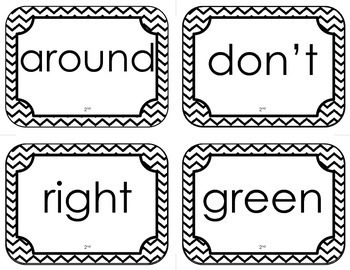 Dolch Second Grade Sight Word Flash Cards (with Chevron Frame)