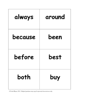 Dolch Second Grade Sight Word Formative Assessment and Flashcards