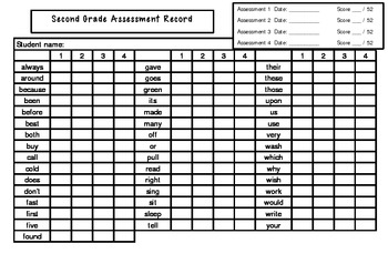 Second Grade Sight Words Assessment Record