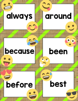 Dolch Second Grade Sight Words Cards- Emoji Theme