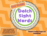 Dolch Second Grade Sight Words- Student Practice Pages and