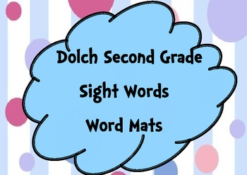 Second Grade Sight Words Word Mats