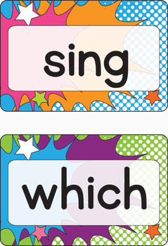 """Dolch Second Grade Super Hero Word Cards – 4"""" x 6"""" – Vector PDF"""