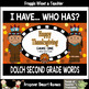 """Dolch Second Grade Words I Have... Who Has? """"Happy  Thanksgiving"""""""