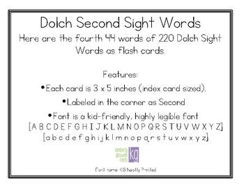 Dolch Second Sight Words