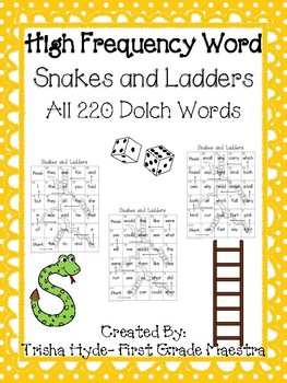 High Frequency Word Snakes and Ladders All  220 HFW  Game