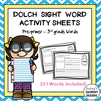 Sight Word Activities - Dolch Words - Pre-Primer through 3