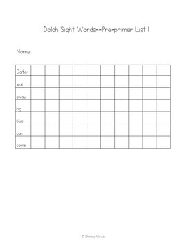 Dolch Sight Word Activities Pre-primer Level Set 1