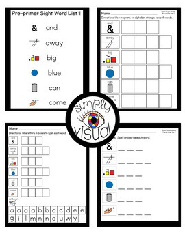 Sight Word Activities with Visuals Pre-primer Level Set 1
