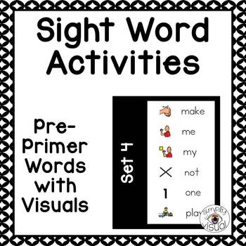 Dolch Sight Word Activities Pre-primer Level Set 4