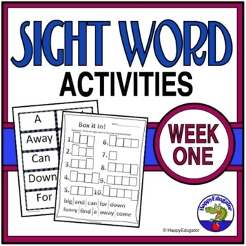 Sight Words Fuency Activities { Dolch } Week 1