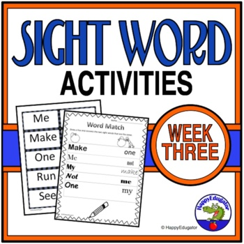 Sight Words Fuency Activities { Dolch } Week 3