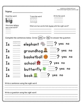 Dolch Sight Word Activity 2 Bundle for Kindergarten