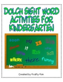 Dolch Sight Word Activity 3 Bundle for Kindergarten